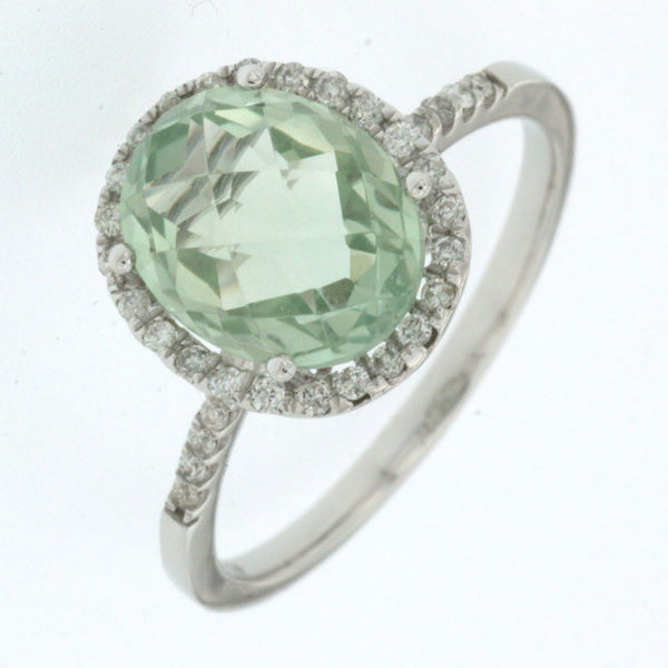 14K White Gold .21ctw Green Amethyst Diamond Halo Ring