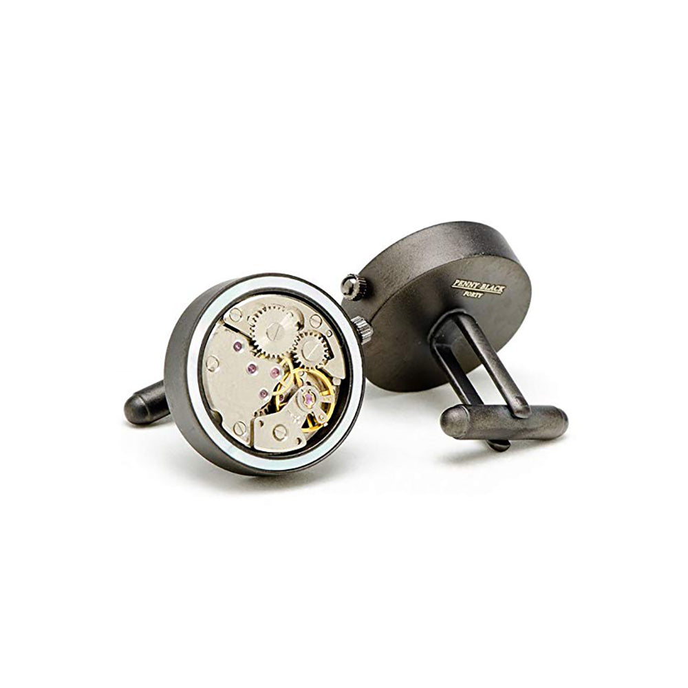 Matte Black & Mother of Pearl Inlaid Watch Movement Cufflinks