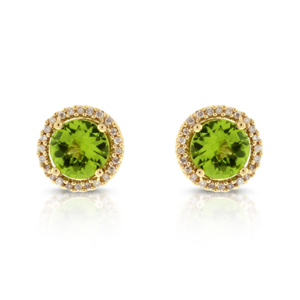 14K Yellow Gold Peridot with .15ctw Halo Diamond Earrings