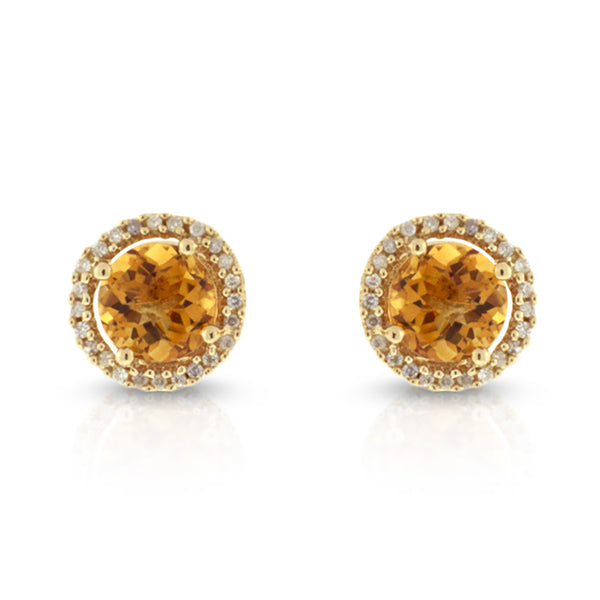 14K Yellow Gold Citrine with .15ctw Halo Diamond Earrings