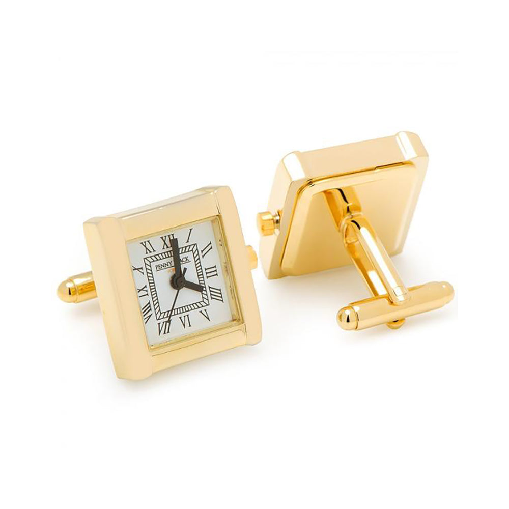 Gold Stainless Steel Square Roman Cufflinks