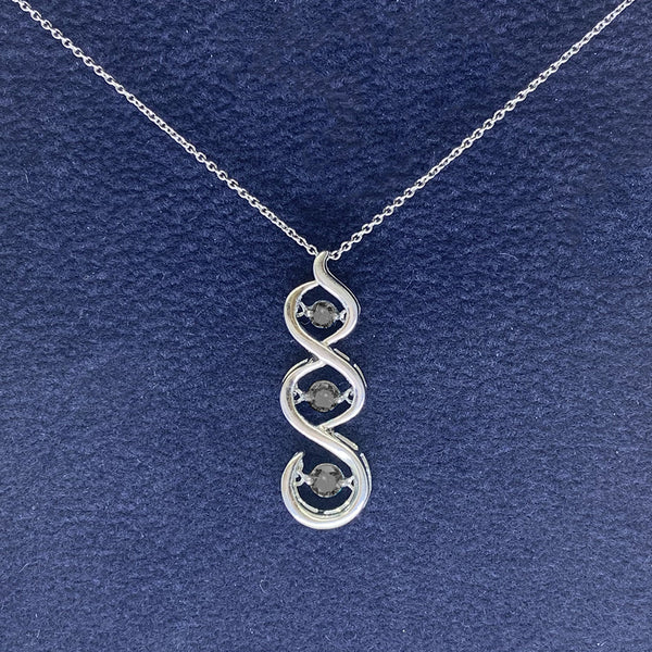 Black Diamond Open Swirl Pendant Necklace