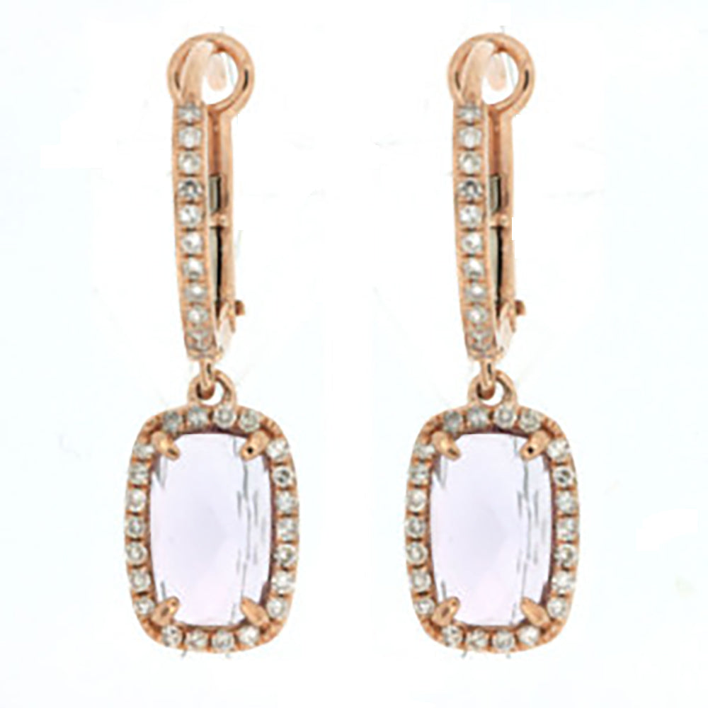 14K Rose Gold .26ctw Amethyst Center Dangle Earrings