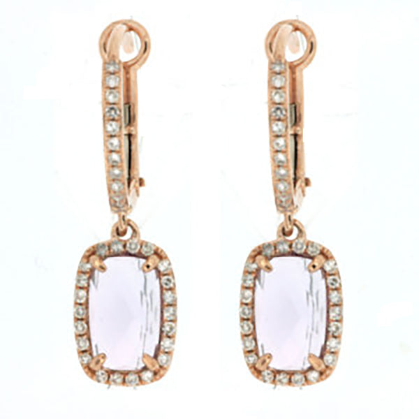 SD 14K Rose Gold .26ctw Amethyst Center Dangle Earrings