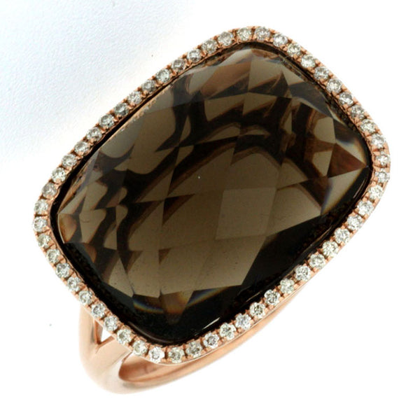 SD 14K YG .17ctw Smokey Quartz Center Ring