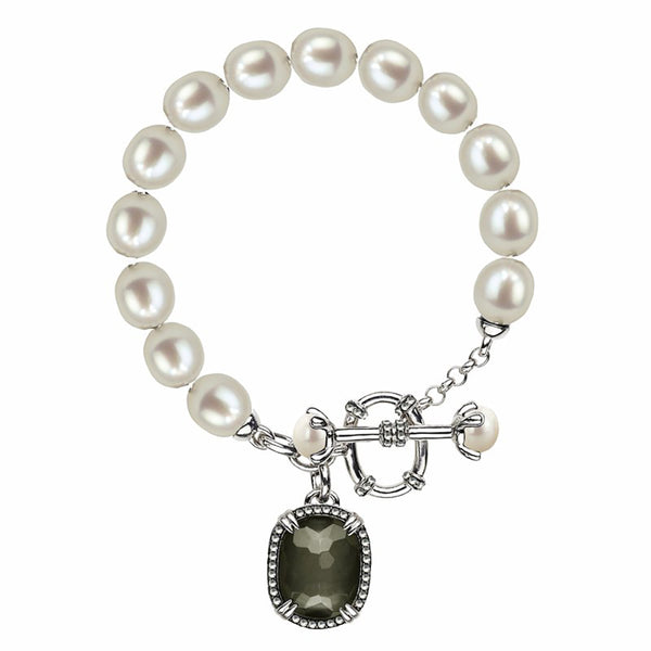 Honora SS 6.5-9mm FWCP/White Topaz/Pyrite Doublet Bracelet 7.5""