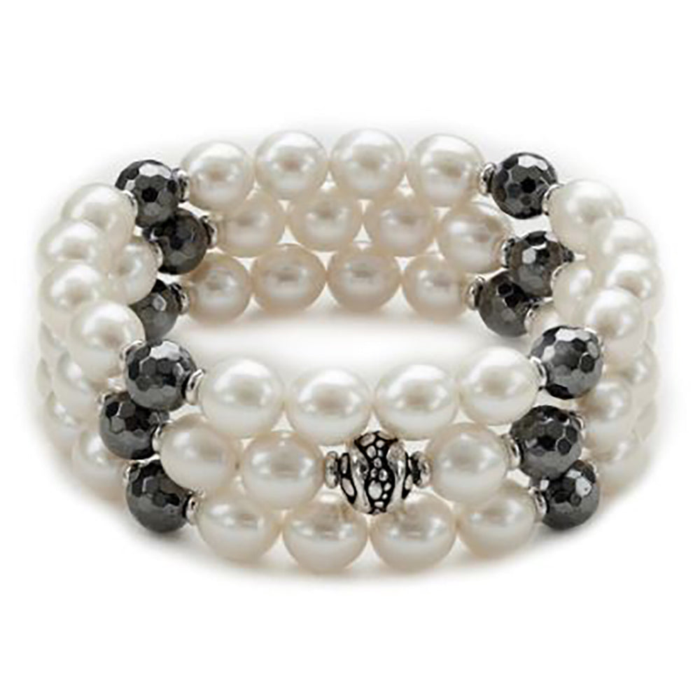 Honora SS 8.5-9mm FWCP/Hematite Stingray 3-Piece Bracelet Set