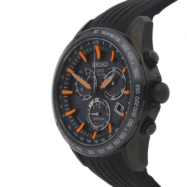 SEIKO ASTRON GPS Solar Black Dial Orange Markers Black Case