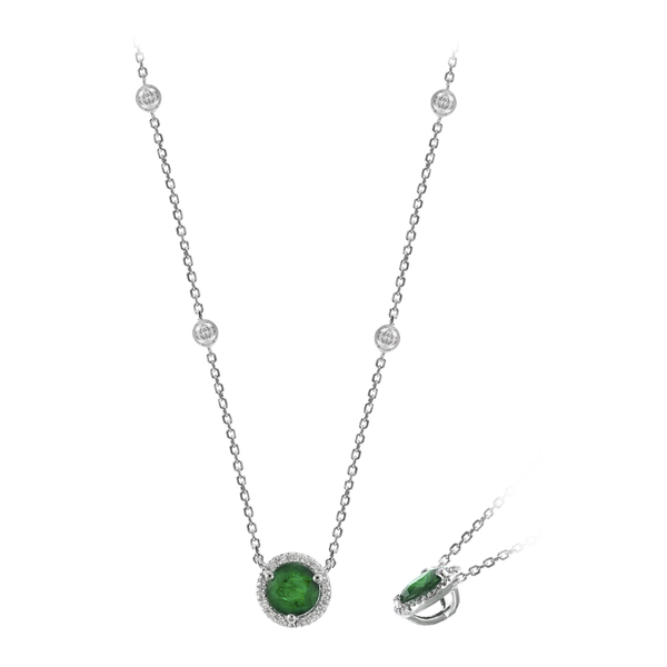 14K WG Emerald with .15ctw Diamond Halo Necklace