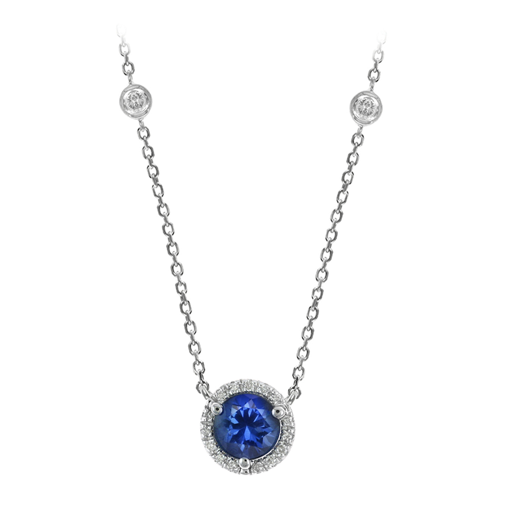 14K WG Sapphire with .15ctw Diamond Halo Necklace