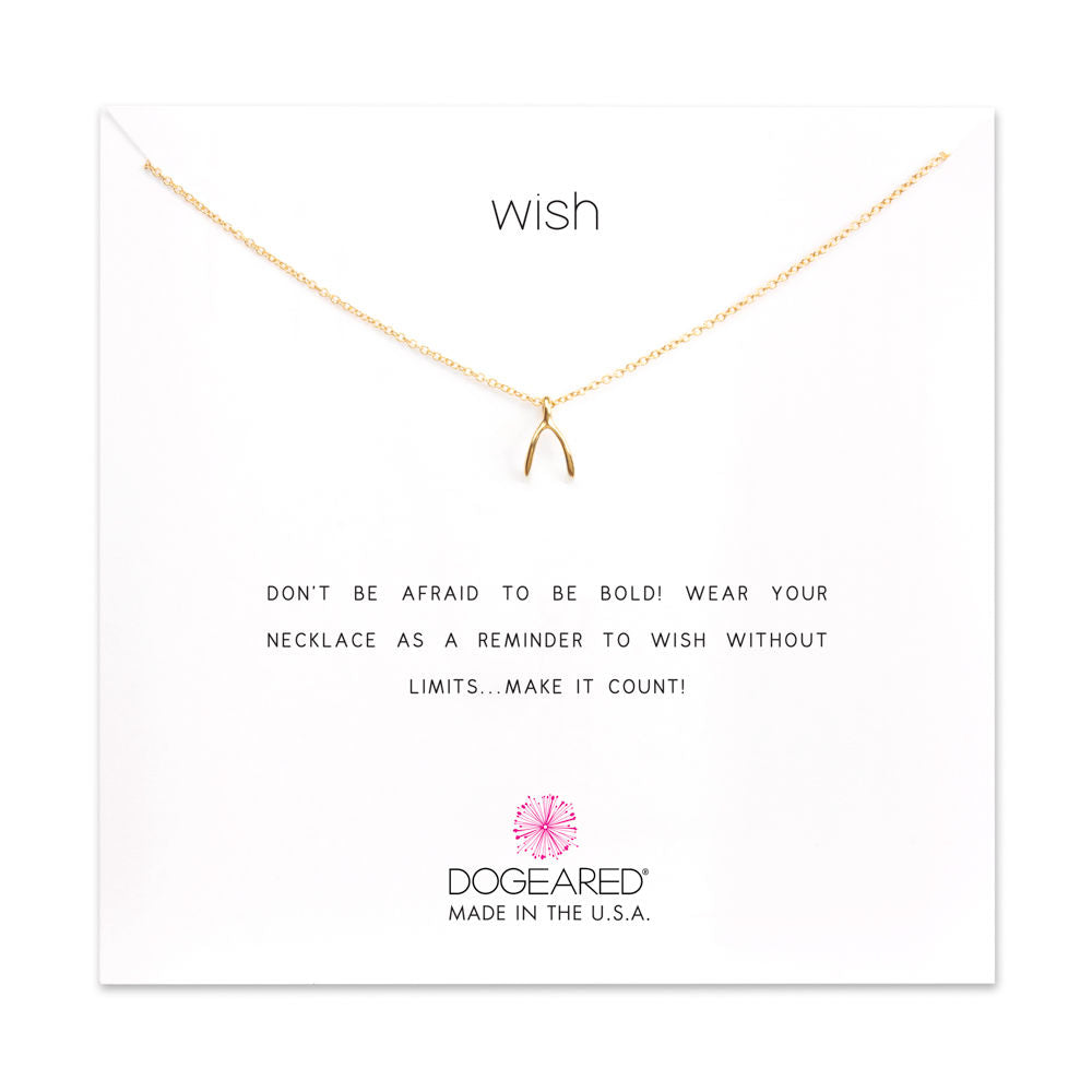 Dogeared Wish Pendant, Gold, 16""
