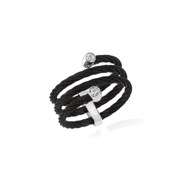 ALOR Noir Black Cable and Diamond Ring, 0.04CTW