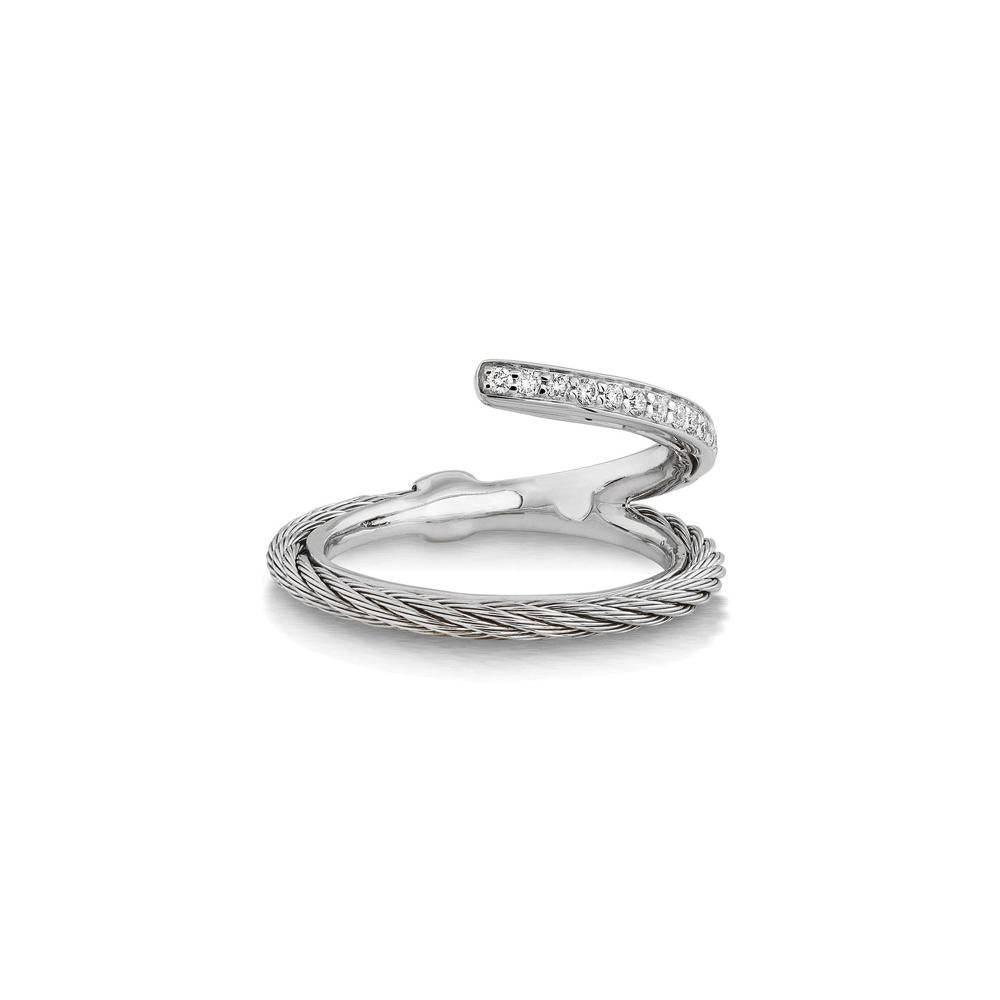 ALOR Classique Grey Cable and Diamond Ring, 0.12CTW