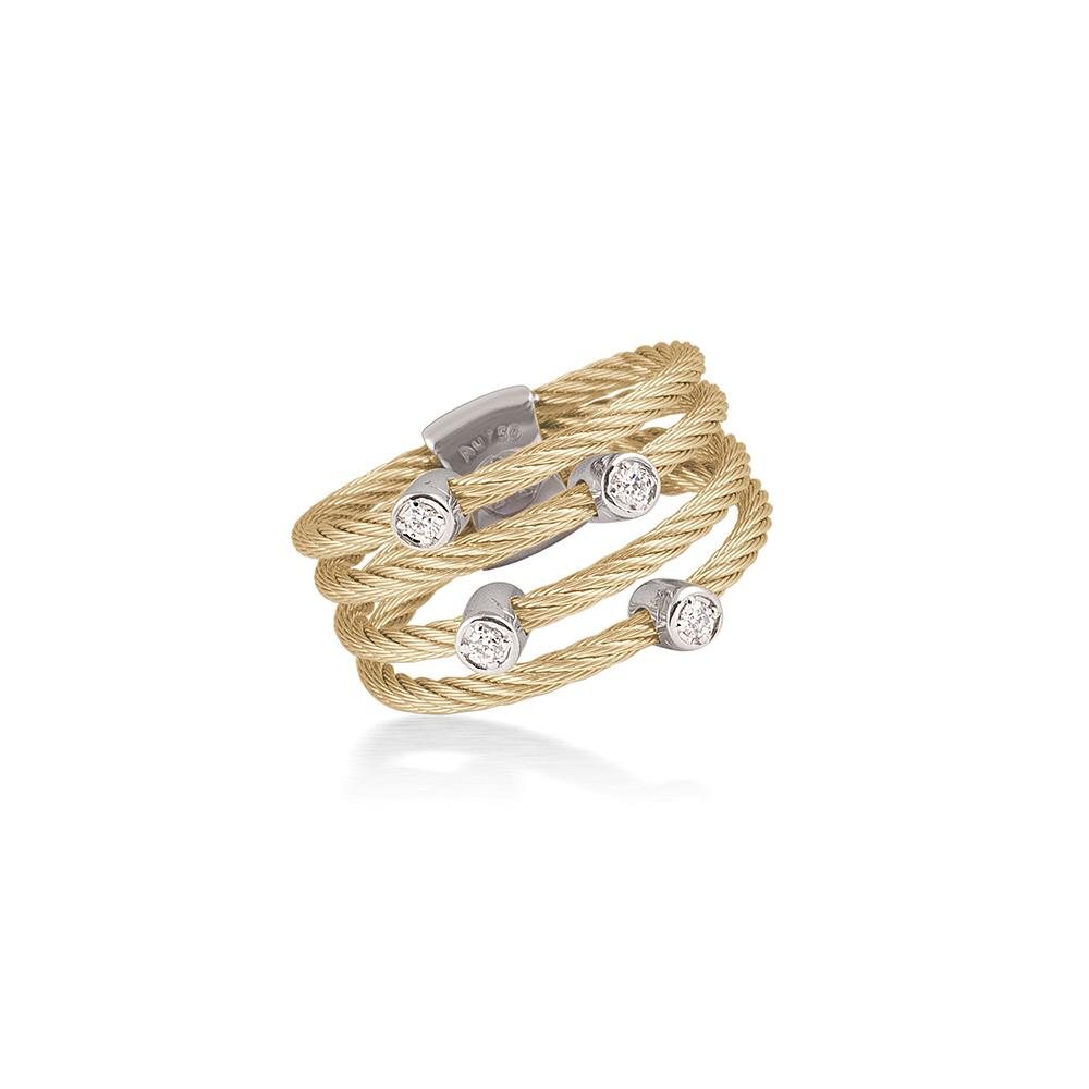 ALOR Classique Yellow Cable and Diamond Ring, 0.09CTW