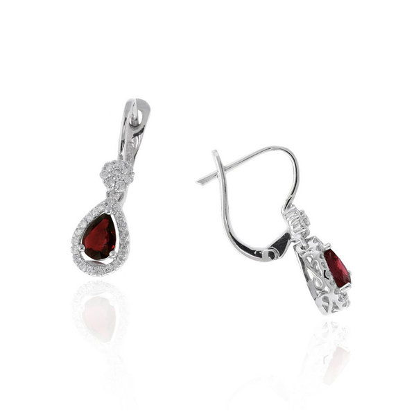 14K WG .34ctw Diamond & 1.00tgw Ruby Earrings