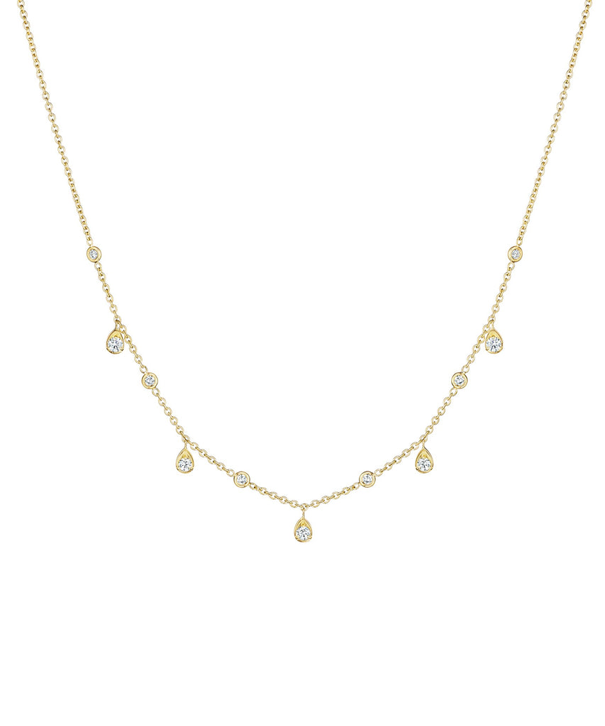 "Penny Preville - 18k YG .80ctw Round and Pear Shape Diamond Dangle Necklace, 18"", N7578G"