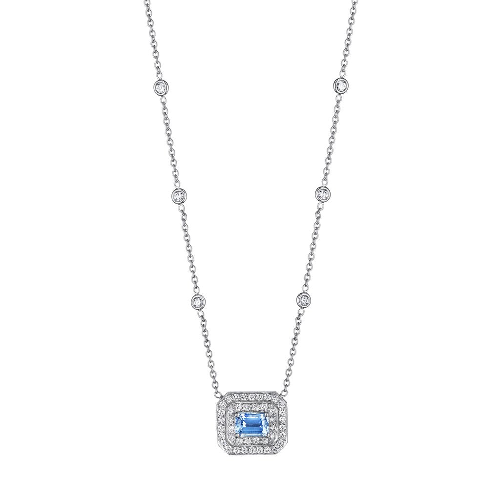 "Penny Preville - 18k WG 1.01tgw Emerald Shape Aquamarine with 1.01ctw Diamonds Necklace, 18"", N5031W-7X5-A"