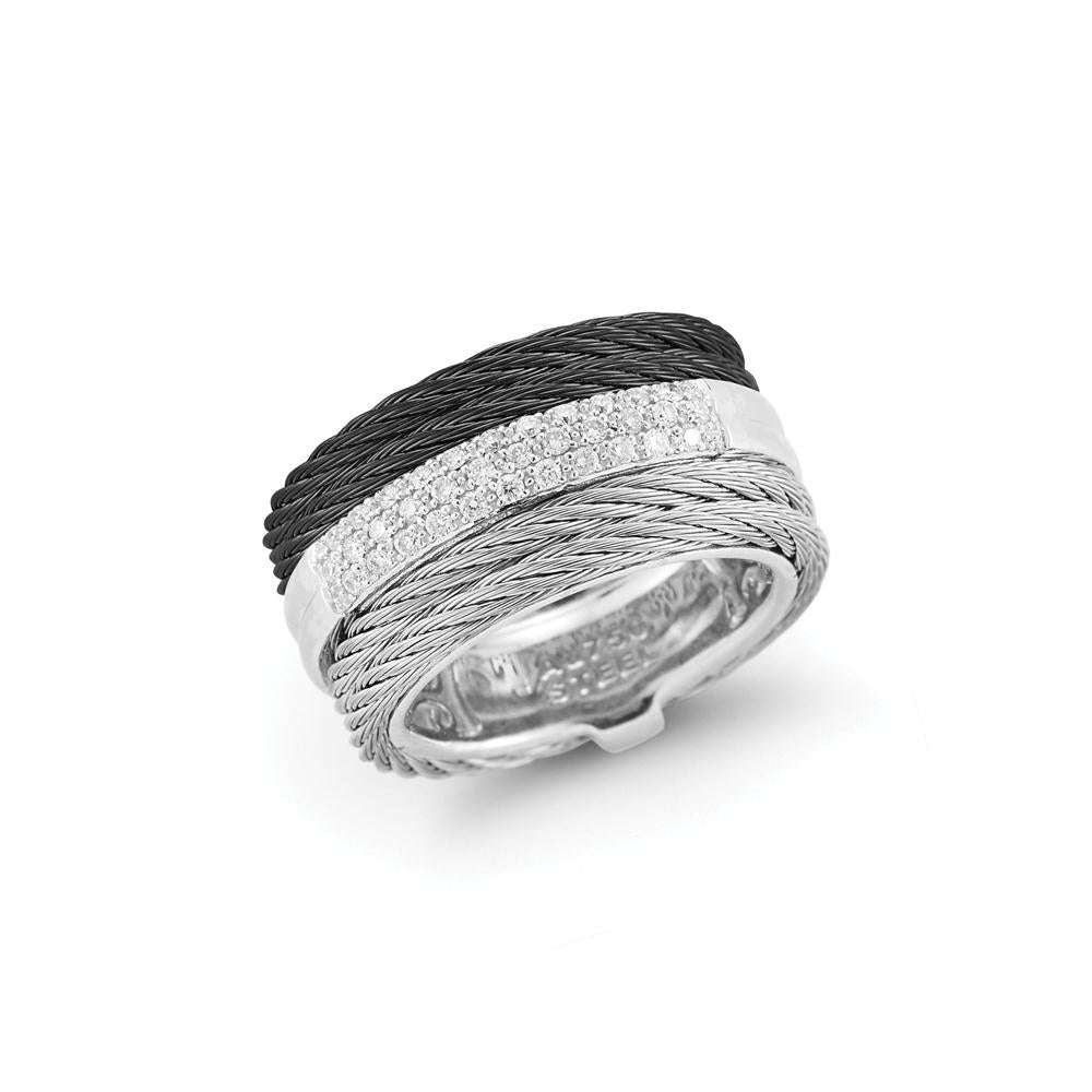 ALOR Black and Grey Cable and Diamond Ring, 0.28CTW, Size 7