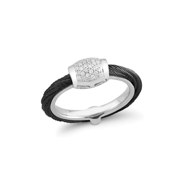 ALOR Noir Black Cable and Diamond Ring, 0.14CTW, Size 8.5