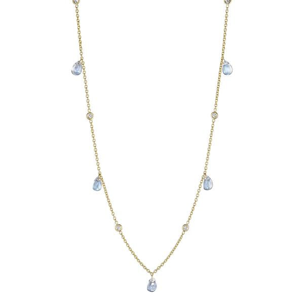 "Penny Preville - 18k YG .3ctw Diamond and Pear Shape Blue Moonstone Cabochon Necklace, 18"", N7578G-M"