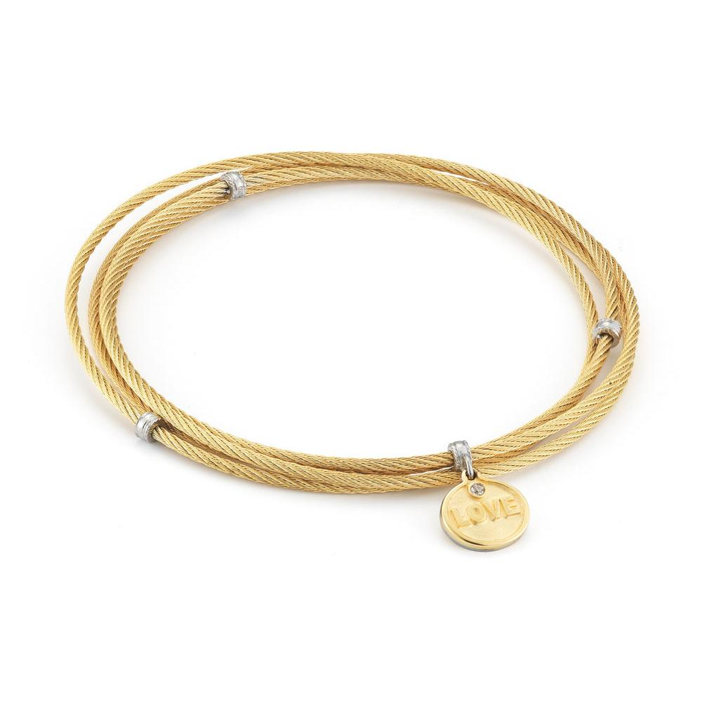 "ALOR 4 Row Yellow Cable with Love Charm 8"" Bangle"