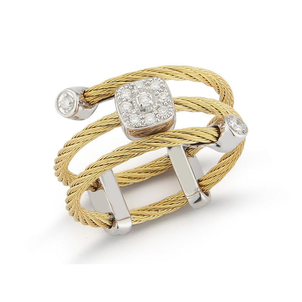 ALOR Classique Yellow Cable and Diamond Ring, 0.12CTW