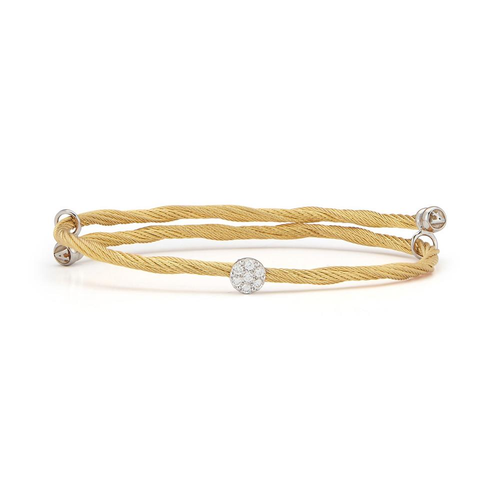 ALOR Twisted Yellow Cable with Diamonds Bangle, 0.15CTW