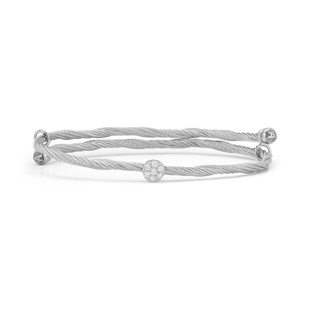 ALOR Classique Twisted Grey Cable and Diamond Station Bangle, 0.15CTW