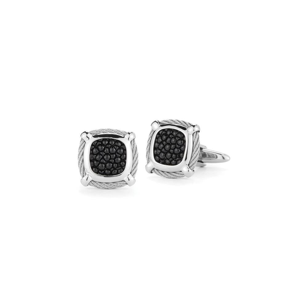ALOR Grey Cable 1 Row 2mm Black Mother of Pearl Cufflinks