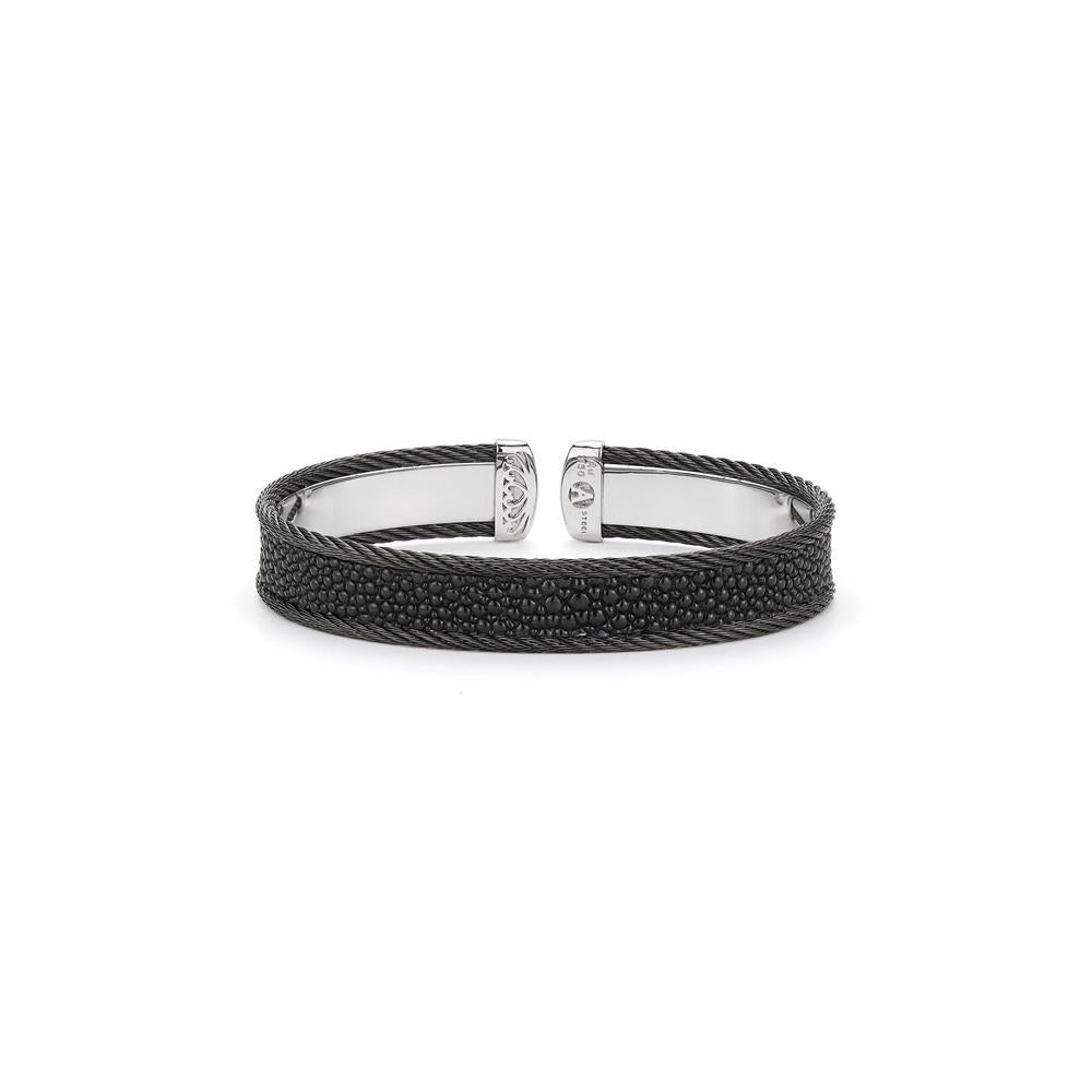 ALOR Black Cable with Black Stingray Bangle, Gents