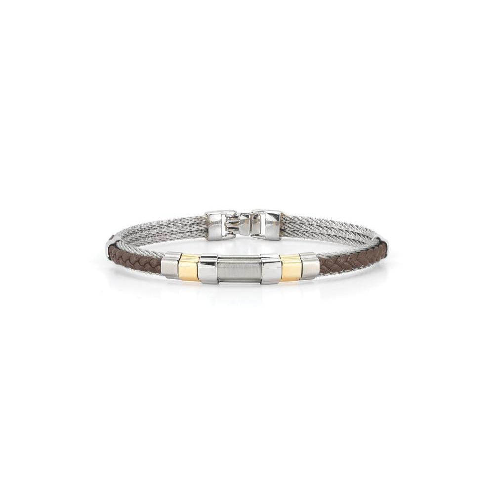 "ALOR Brown Leather and Grey Cable with Yellow Gold 7.75"" Bangle, Gents"