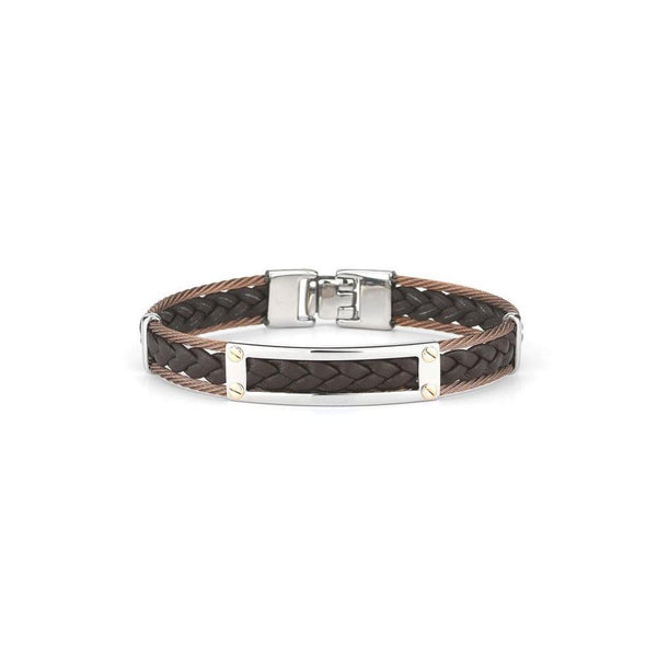 "ALOR Brown Leather and Bronze Cable 7.75"" Bangle, Gents"