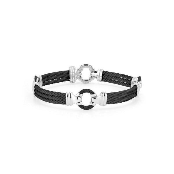 "ALOR 3 Row Black Cable Circle 8"" Bangle, Gents"