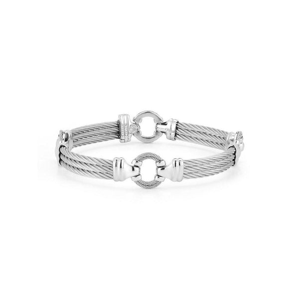"ALOR 3 Row Grey Cable Circle 8"" Bangle, Gents"