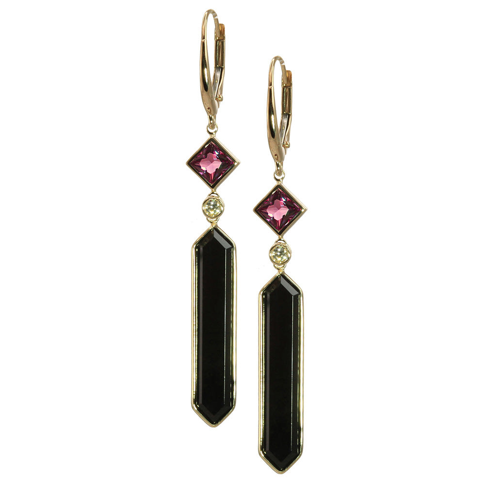 Olivia B 14K YG Hexagon Onyx with P/C Rhodolite Earrings