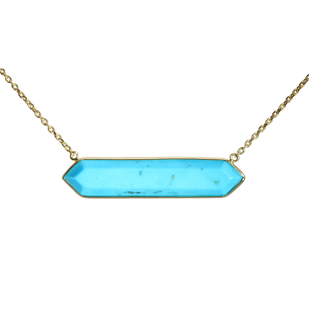 Olivia B 14K YG Hexagon Turquoise East-to-West Necklace