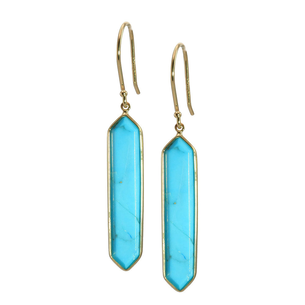 Olivia B 14K YG Hexagon Turquoise Earrings
