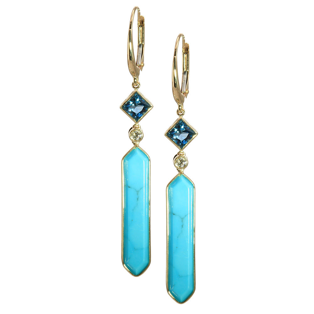Olivia B 14K YG Hexagon Turquoise with London Blue Topaz Earrings