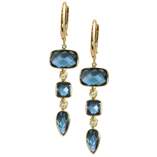 Olivia B 14K YG London Blue Topaz Dangle Earrings