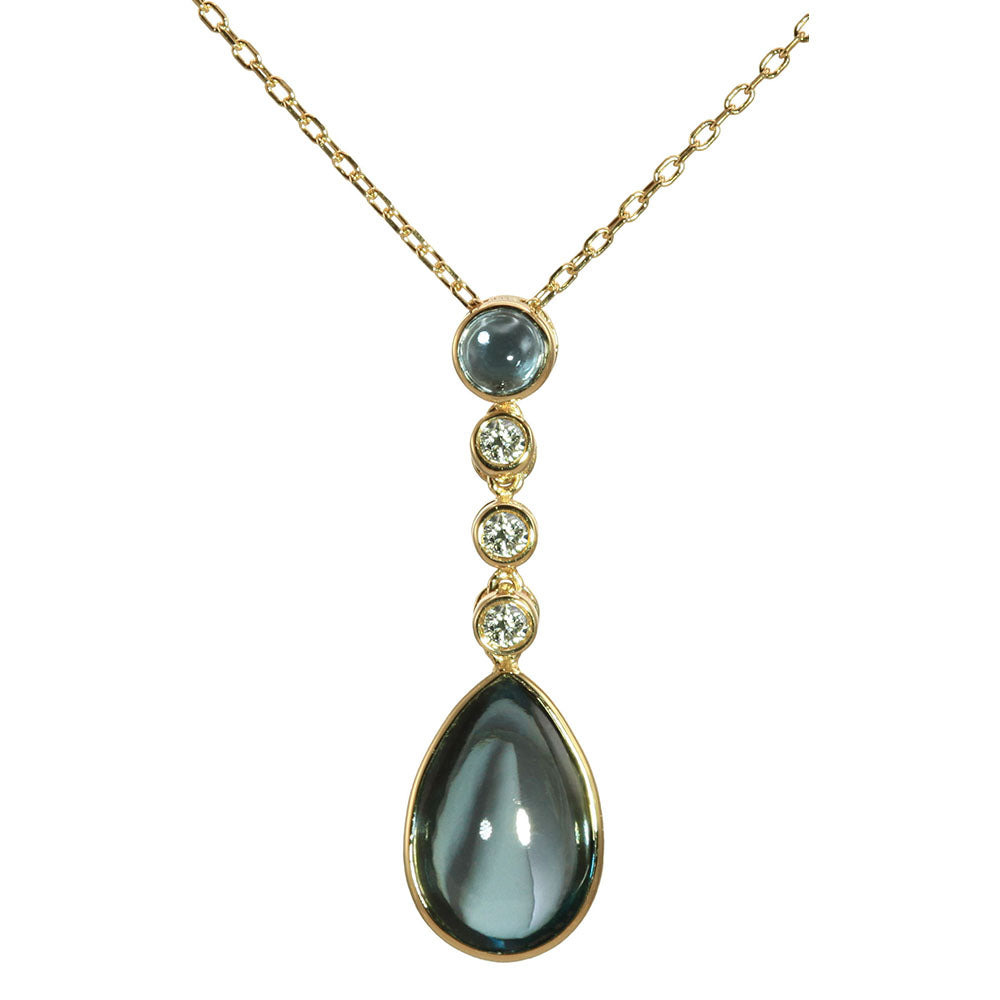 Olivia B 14K YG London Blue Topaz Drop Pendant Necklace