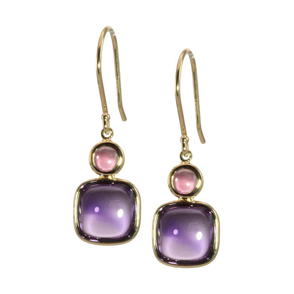Olivia B 14K YG Amethyst with Pink Tourmaline Earrings