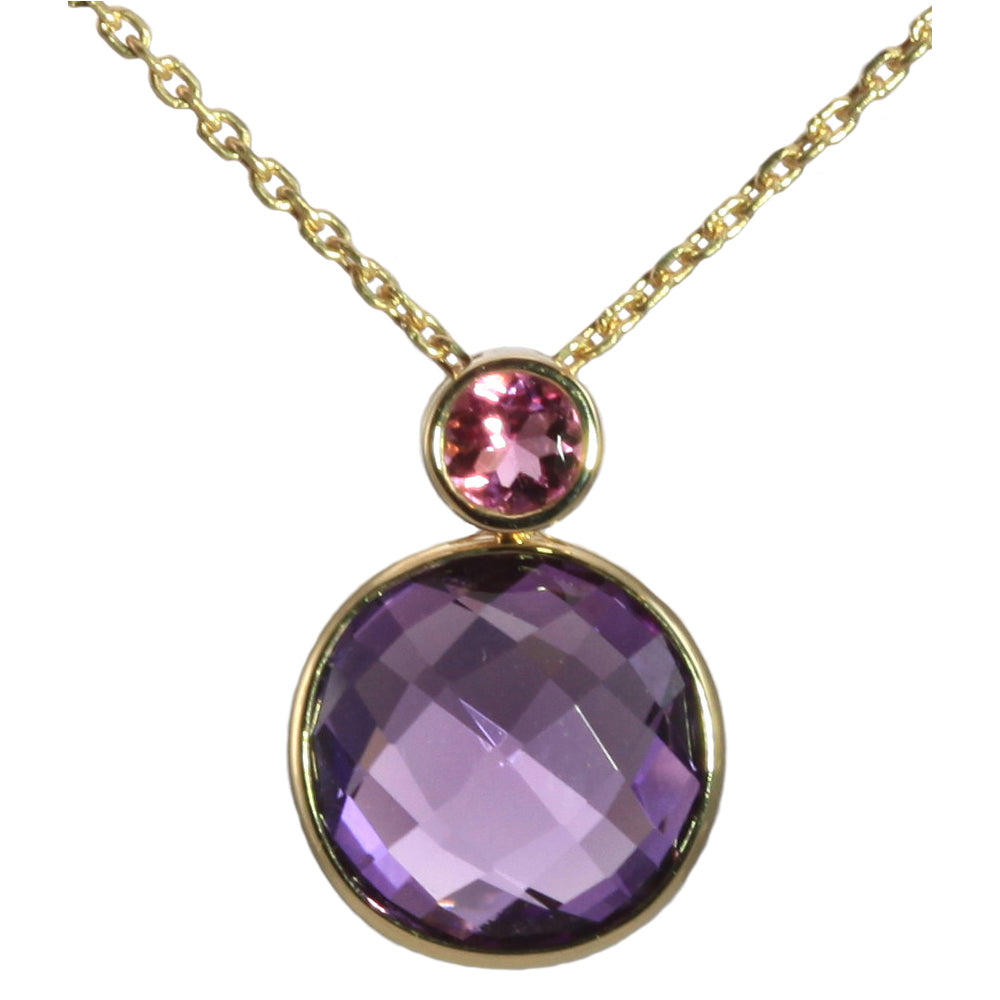 Olivia B 14K YG Amethyst with Pink Tourmaline Necklace