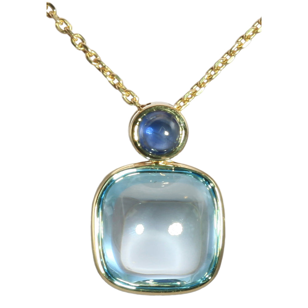 Olivia B 14K YG Sky Topaz with London Blue Topaz Pendant Necklace