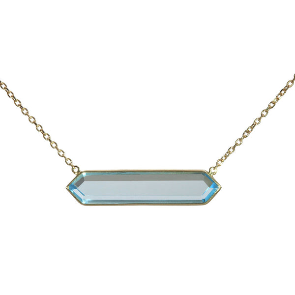Olivia B 14K YG Hexagon Sky Topaz East-to-West Necklace