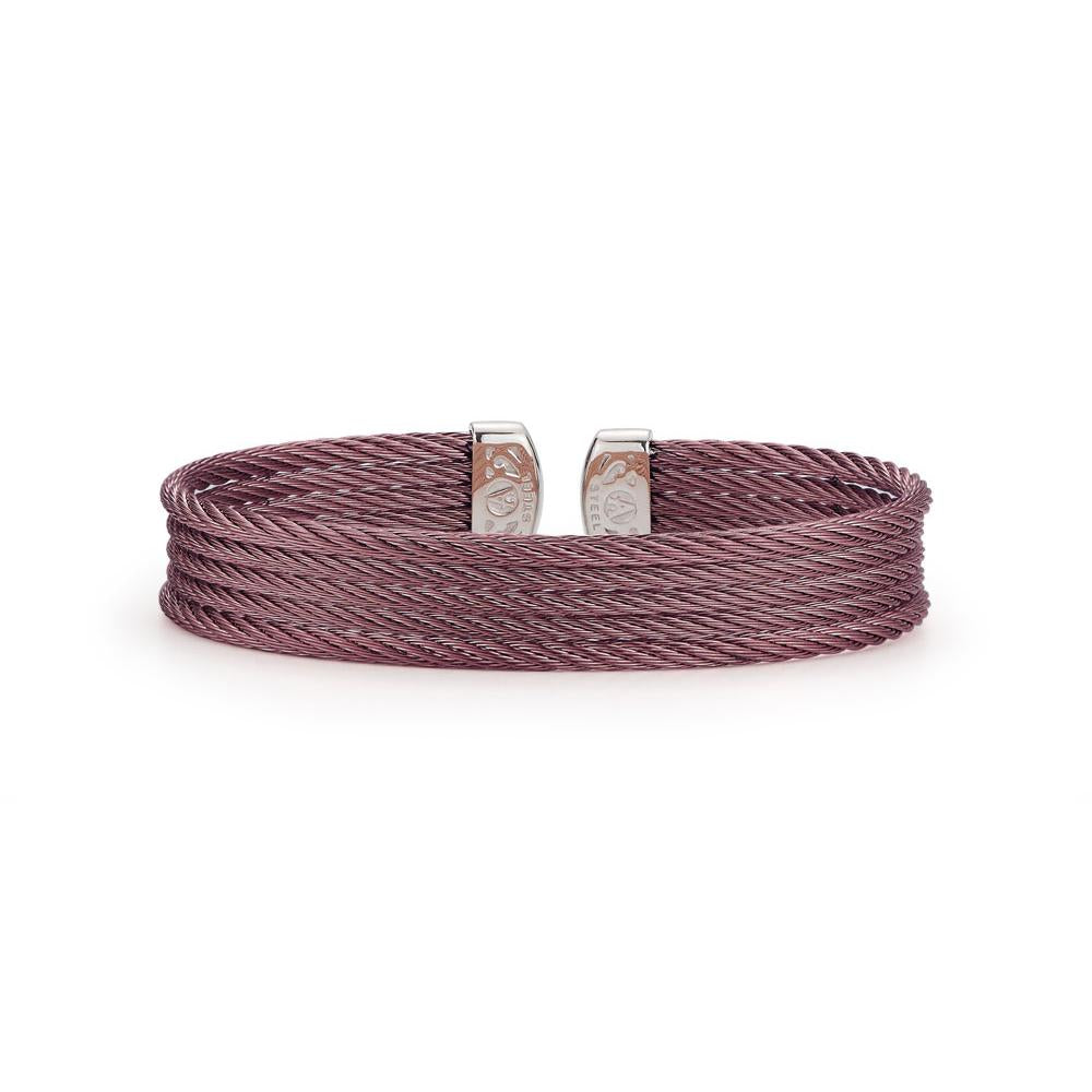 ALOR Classique 5 Row Burgundy Cable Cuff Bangle