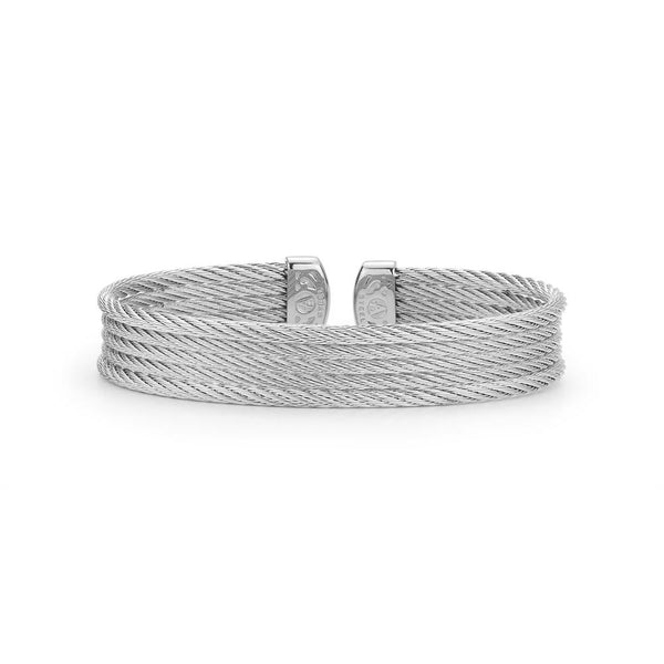 ALOR Classique 5 Row Grey Cable Cuff Bangle