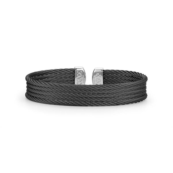 ALOR Noir Black Cable Cuff Bangle