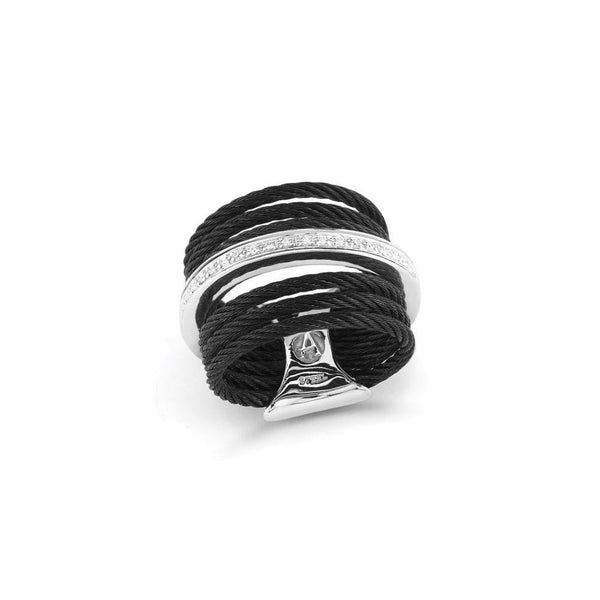 ALOR Noir Black Cable and Diamond Ring, 0.09CTW, Size 9