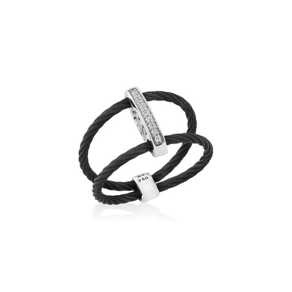 ALOR Noir Black Cable and Diamond Ring, 0.05CTW, Size 9
