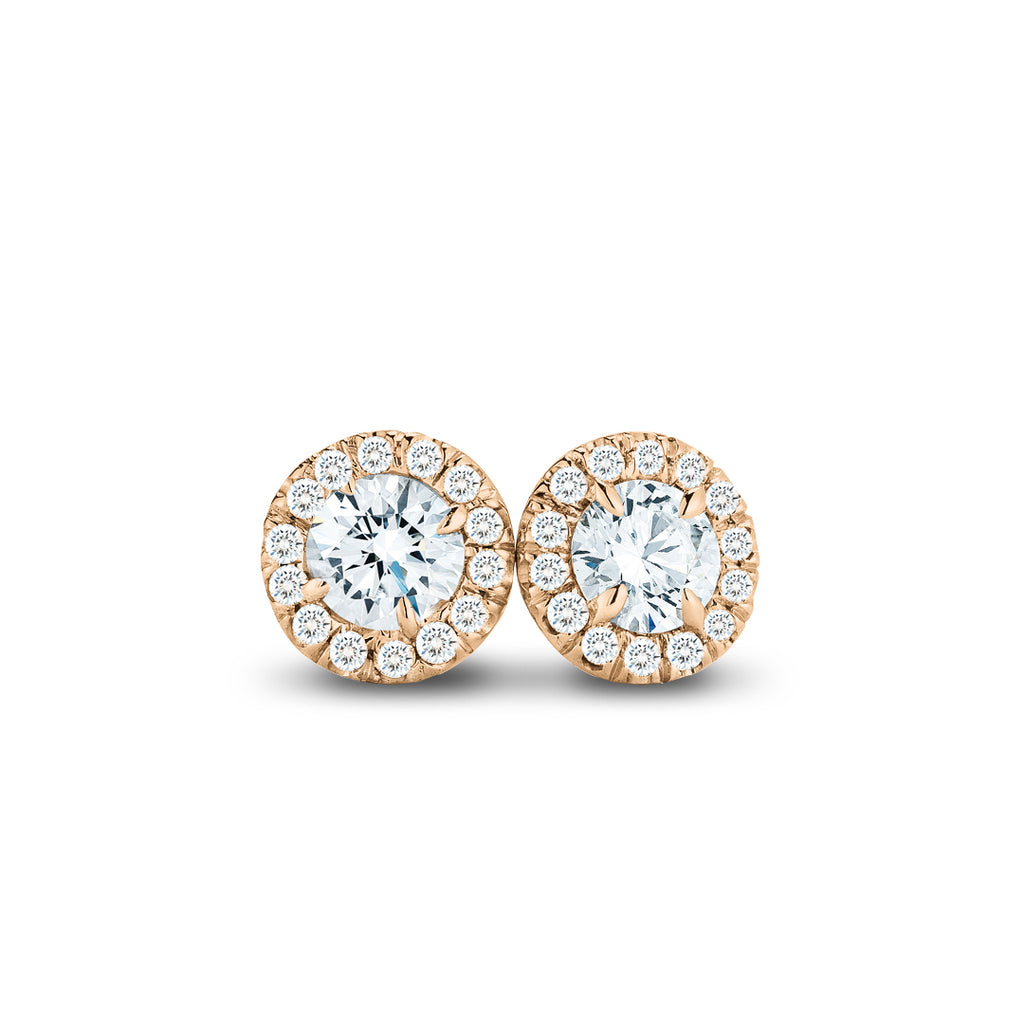 .50CTW Rose Gold Diamond Halo Stud Earrings